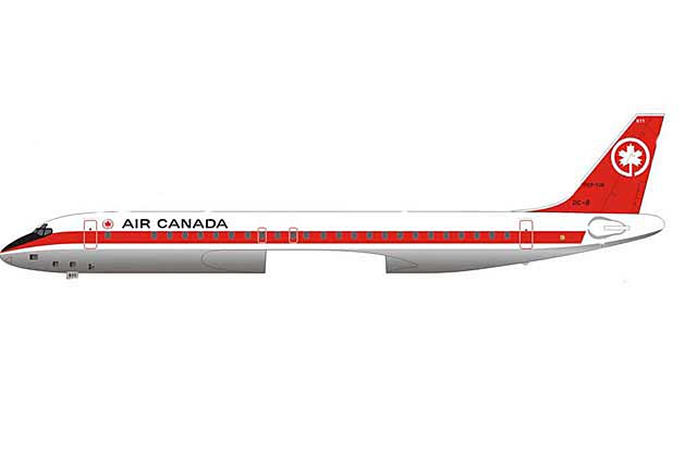 Air Canada DC-8-43 CF-TJK with Ground Equipment (1:200)