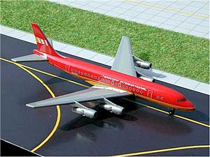 "Braniff DC-8-50 ""Flying Colors"" (Red) (1:400) - in SkyJets metal tin"