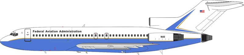 Federal Aviation Administration (FAA) Boeing 727-200 N40 (1:200) - Preorder item, Order now for future delivery