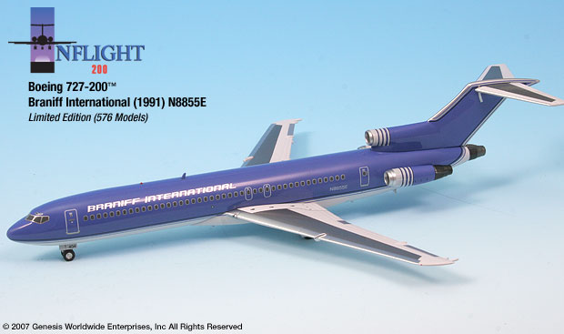 "Braniff International Ultra 727-200 ""Blue Ultra"" (1:200)"