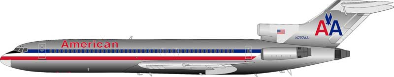 American Airlines Boeing 727-200 N727AA Polished  (1:200)  - Preorder item, Order now for future delivery