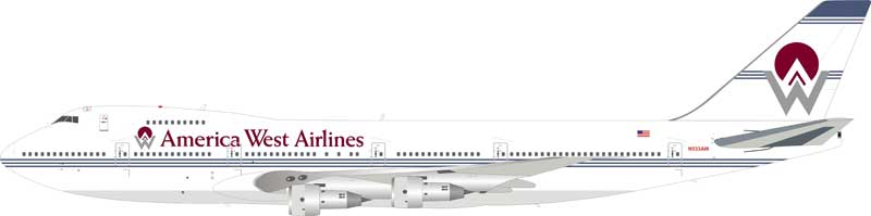 America West Airlines Boeing 747-200 N533AW (1:200) - Preorder item, Order now for future delivery