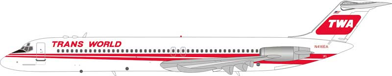 Trans World TWA DC-9-51 N416EA (1:200) - Preorder item, Order now for future delivery