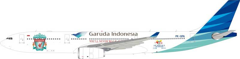 "Garuda Indonesia A330-341 ""You'll Never Walk Alone"" Liverpool Football Cup Tour PK-GPA (1:200) - Preorder item, order now for future delivery"