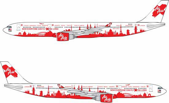 "Air Asia A330-300 Now Everyone Can Fly Xtra Long"" ~ 9M-XAA (1:400)"""