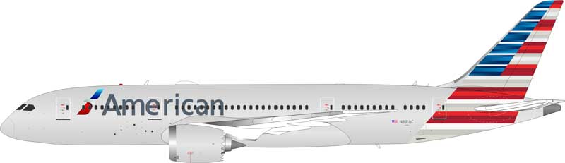 American Airlines 787-8 Dreamliner N801AC with stand (1:200)