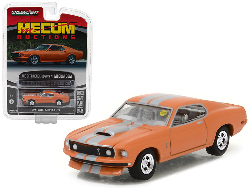 1969 Ford Mustang Resto Mod Orange with Silver Stripes Mecum Auctions Collector Series 1 1/64 Diecast Model Car by Greenlight