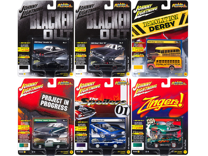 Street Freaks 2017 Release 3B Set of 6 cars 1/64 Diecast Model Cars by Johnny Lightning