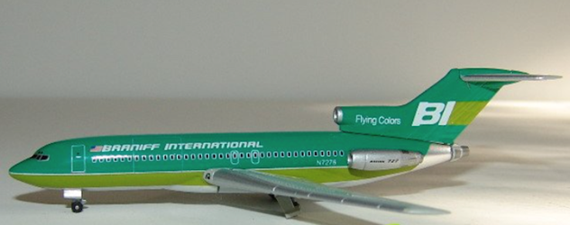 Braniff International B727-100 - Green N7276 (1:400) by Jet X 1:400 Diecast Airliners