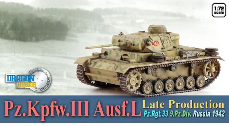 Pz.Kpfw.III Ausf.L Late Production, Pz.Rgt.33, 9.Pz.Div., Russia 1942 1:72, Dragon Diecast Armor, Item Number DRR60448