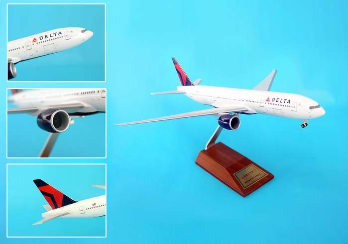 Delta 777-200LR (1:200) On Wood Stand W/Gear, SkyMarks Airliners Models Item Number SKR5009