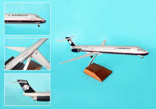Aeromexico MD-80 W/Wood Stand & Gear (1:100) by Skymarks Supreme Desktop Aircraft Models item number: SKR8603