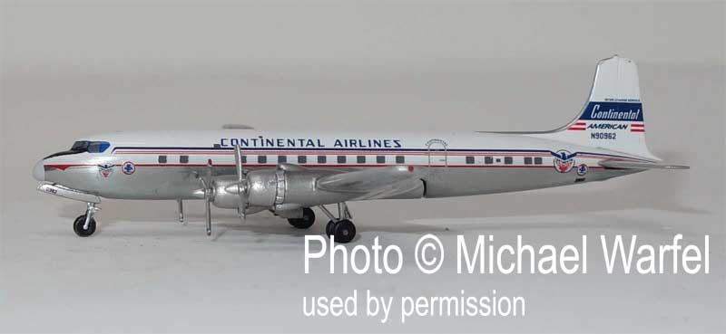 Continental DC-6 N90962 American Airlines Logo (1:400), AeroClassics Models, Item Number AC419477