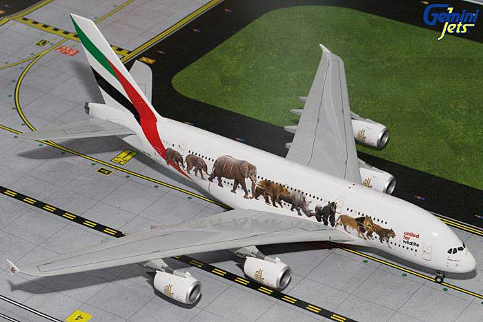 "Emirates A380-800 ""Wildlife #1"" A6-EEI (1:200), GeminiJets 200 Diecast Airliners, Item Number G2UAE601"
