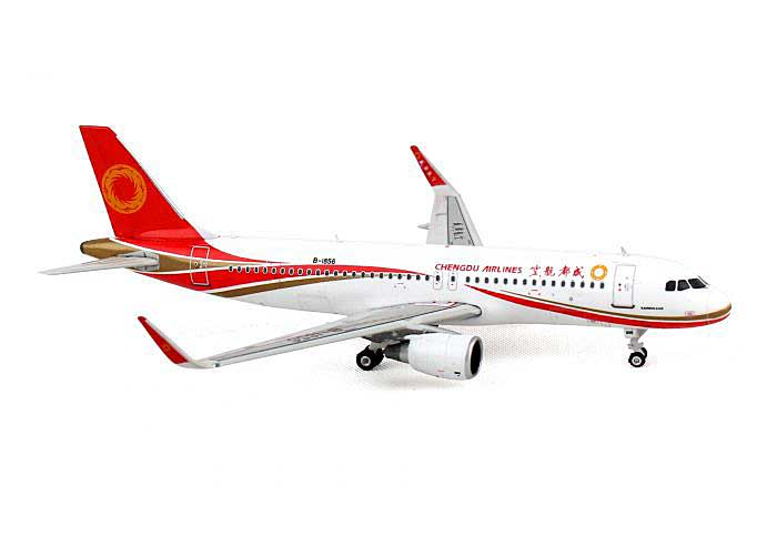 Chengdu Airlines A320 with Sharklets B-1856 ((1:400)), Phoenix (1:400) Scale Diecast Aircraft, Item Number PH4UEA1253