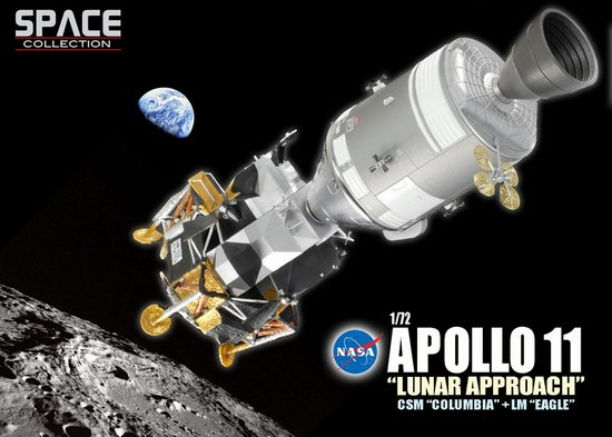 "Apollo 11 ""Lunar Approach"" CSM ""Columbia"" + LM ""Eagle"" (1:72 Scale), DragonWings 1:72 Scale Diecast Warbirds Item Number DRW50375"