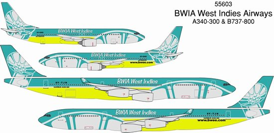BWIA A340-300 & 737-800 (1:400), DragonWings 400 Diecast Airliners Item Number DRW55603