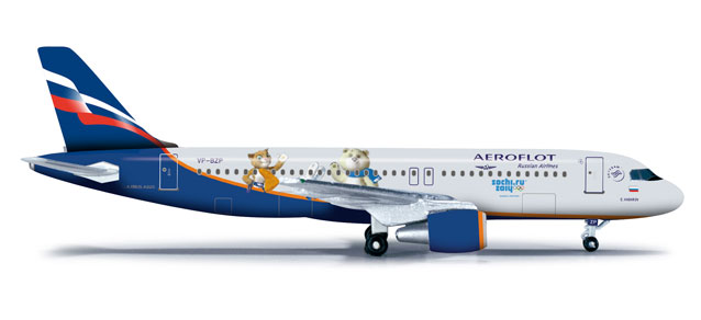 Aeroflot A320 (1:500) Sochi 2014, Herpa 1:500 Scale Diecast Airliners Item Number HE524407