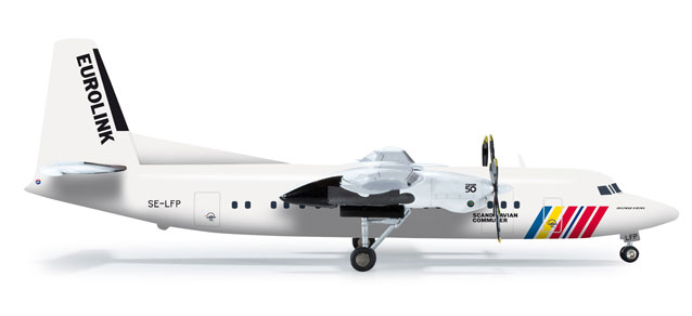 Scandinavian Commuter Eurolink Fokker F-50 (1:200), Herpa 1:200 Scale Diecast Airliners Item Number HE555821