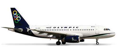 Olympic A319 (1:500), Herpa 1:500 Scale Diecast Airliners Item Number HE517836