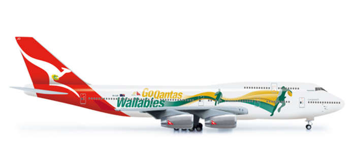 Qantas 747-400 (1:200) Go Wallabies, Herpa 1:200 Scale Diecast Airliners Item Number HE554664