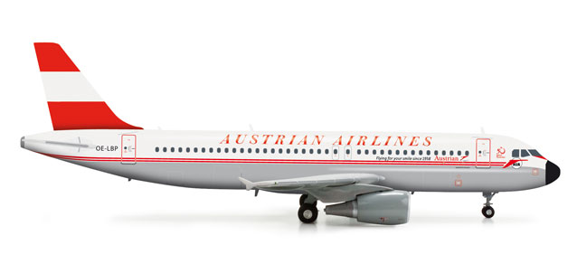 Austrian A320 (1:200) 50TH Anniversary Retrojet, Herpa 1:200 Scale Diecast Airliners Item Number HE555708
