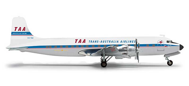 TAA Trans Australia Airlines Douglas DC-6B (1:200), Herpa 1:200 Scale Diecast Airliners Item Number HE556354