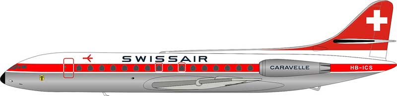 Swissair Sud SE-210 Caravelle III HB-ICS POLISHED (1:200), ARD Models Item Number ARD2064P