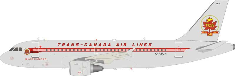 Trans Canada Air Lines TCA Airbus A319-114 C-FZUH With Stand (1:200)