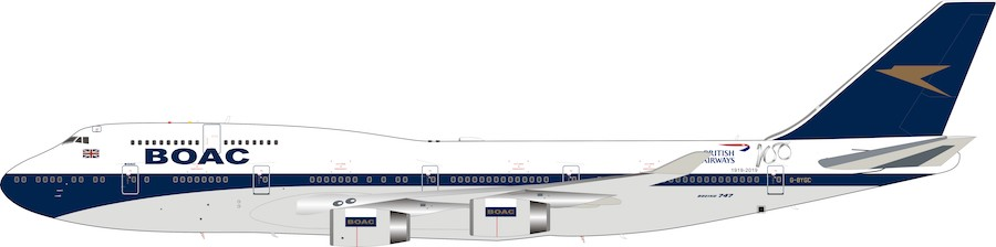 BOAC British Airways G-BYGC Boeing 747-400 100 year anniversary 1919-2019 (1:200), InFlight 200 Scale Diecast Airliners, BA100