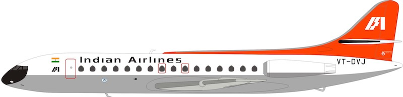 Indian Airlines Sud SE-210 Caravelle VI-N VT-DVJ With Stand (1:200)