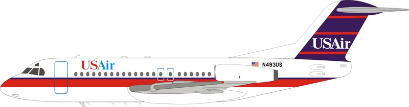 USAir Fokker F-28-4000 Fellowship N493US With Stand (1:200) - New Tooling!