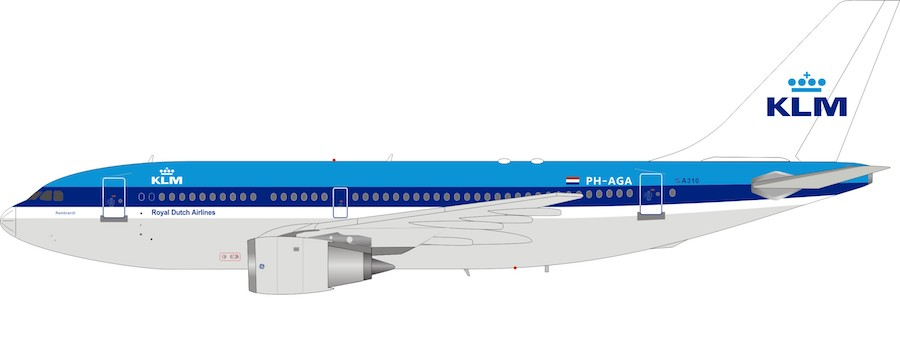 KLM - Royal Dutch Airlines Airbus A310-203 PH-AGA With Stand (1:200) by InFlight 200 Scale Diecast Airliners