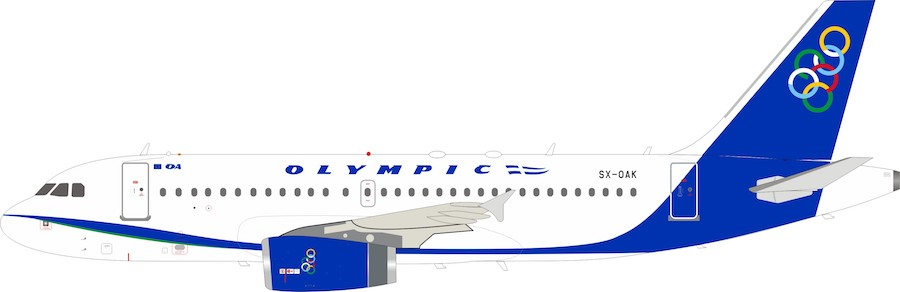 Olympic Airlines Airbus A319-100 SX-OAK (1:200) by InFlight 200 Scale Diecast Airliners Item Number IF3192C0519