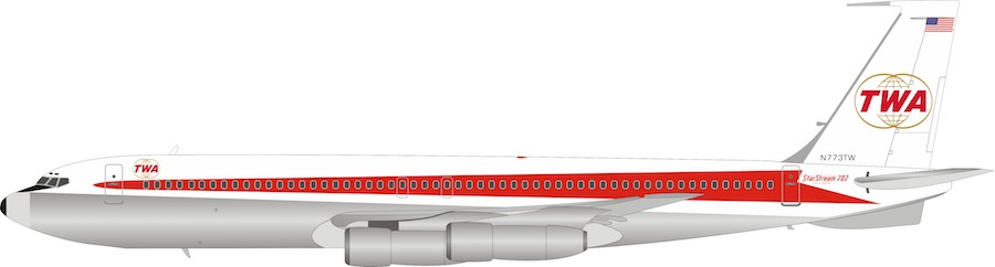 Trans World Airlines - TWA Boeing 707-300 N773TW Polished With Stand (1:200) by InFlight 200 Scale Diecast Airliners item number: IF707TW0619P