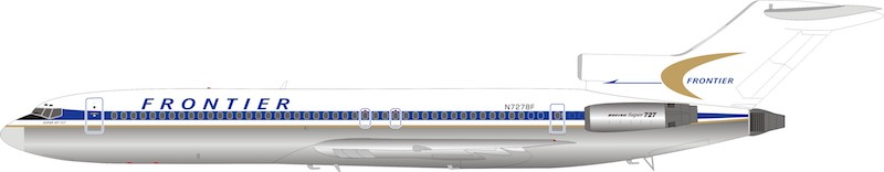 Frontier Airlines Boeing 727-291 N7278F (1:200) - Preorder item, order now for future delivery