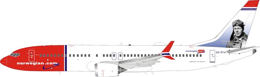 Norwegian Air Sweden Boeing 737-8 MAX SE-RTA (1:200)