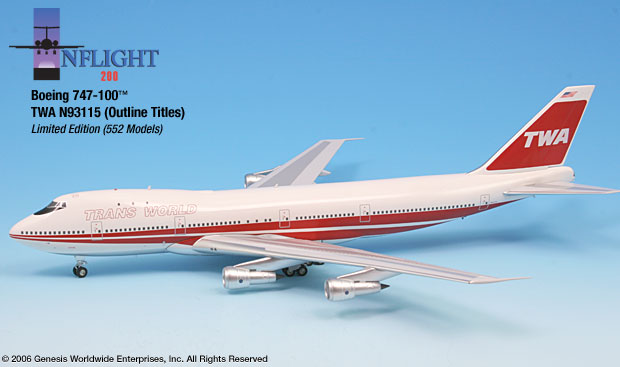 TWA 747-100 - 80s Outline Titles (1:200), InFlight 200 Scale Diecast Airliners Item Number IF741010