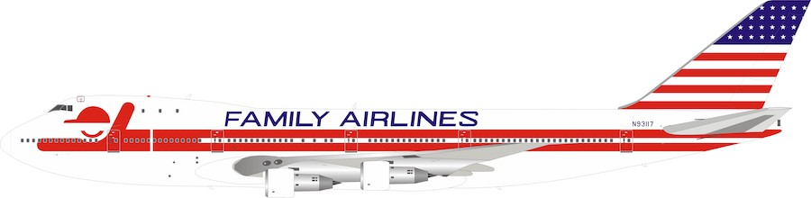 Family Airlines Boeing 747-100 N93117 With Stand (1:200) by InFlight 200 Scale Diecast Airliners item number: IF741FAM0519