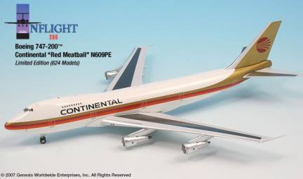 Continental B747-200 Red Meatball (1:200), InFlight 200 Scale Diecast Airliners Item Number IF742004