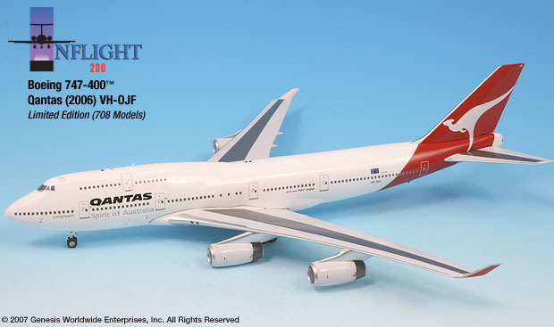 Qantas 747-400 (1:200), InFlight 200 Scale Diecast Airliners Item Number IF744002