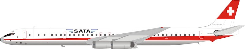 SATA Douglas DC-8-63 HB-IDM (1:200) - Preorder item, order now for future delivery