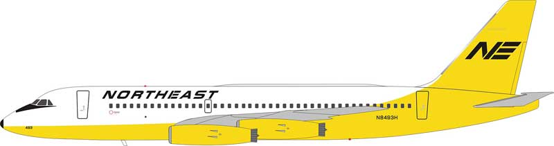 Northeast Airlines Convair 880 N8493H 1970s Yellowbird Colors (1:200) - Preorder item, Order now for future delivery, InFlight 200 Scale Diecast Airliners Item Number IF880NE001