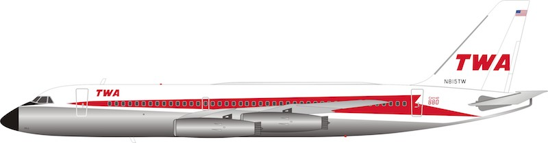 TWA Convair CV-880 N815TW Polished (1:200) - Preorder item, order now for future delivery