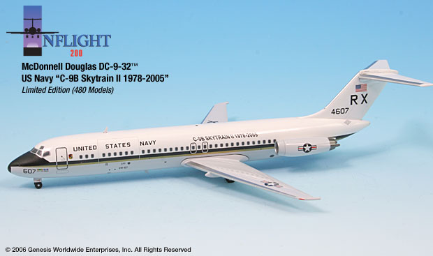 "US Navy C-9B `RX` City of Dublin VR-57 ""Conquistadors"" (1:200), InFlight 200 Scale Diecast Airliners Item Number IF932006"
