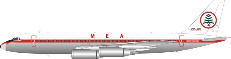 MEA Convair 990 OD-AFI Polished (1:200), InFlight 200 Scale Diecast Airliners Item Number IF9900516P