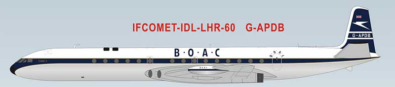 BOAC DeHavilland DH-106 Comet 4 G-APDB 60th Anniversary Model First Transatlantic Flights (1:200) - Preorder item, order now for future delivery, InFlight 200 Scale Diecast Airliners Item Number IFCOMET-IDL-LHR-60-P