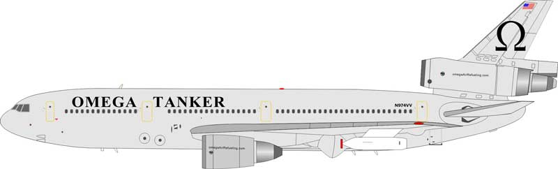 Omega Tanker DC-10-40 N974VV (1:200), InFlight 200 Scale Diecast Airliners Item Number IFDC100317