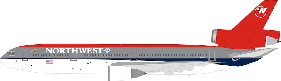 Northwest Airlines McDonnell Douglas DC-10-30 N235NW (1:200) - Preorder item, order now for future delivery, InFlight 200 Scale Diecast Airliners, IFDC10NW0119