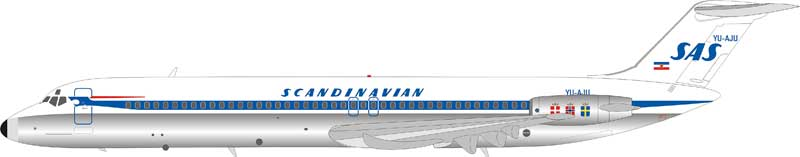 Scandinavian Airlines SAS DC-9-51 YU-AJU (1:200), InFlight 200 Scale Diecast Airliners, Item Number IFDC951SK0219AP